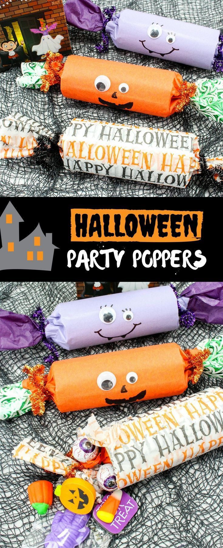 Halloween Party Poppers are sure to take your trick or treat game to a whole new fun. Filled with candies and other goodies, they're the ultimate Halloween party favors! via @lalainespins