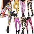 EAST KNITTING BL-140 2014 Women's Adventure Time Bro Ball Leggings Montage Black Leggings Plus Size  XL FREE SHIPPING