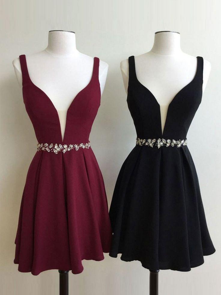 Cute A-line Short Burgundy/Black Homecoming Dress