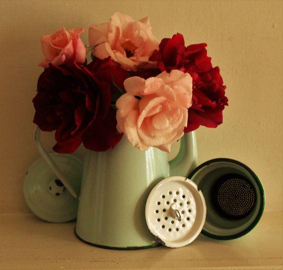 Antiguo verde menta francesa esmalte pote del café por uniqueenamel