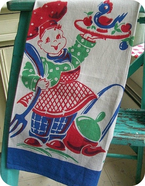 Image of Happy Chef and a Bluebird Vintage Towel