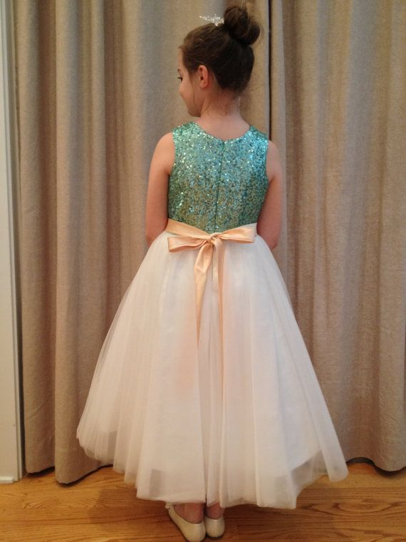 ad420ef3185 Mint Blue Sequin Ivory Tulle Flower Girl Dress with Champagne Sash Bow  Wedding Children Easter Bridesmaid Communion Baptism Dress