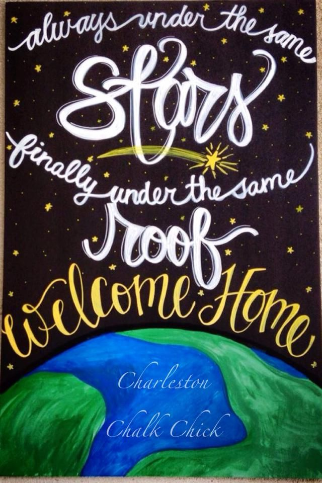 Always under the same stars, finally under the same roof / Military Homecoming Chalkboard Sign / Deployments Over / Welcome Home / Support the Troops / Surviving Deployment / Milso / Armed Forces / to see more projects or to order, check out www.facebook.com/charlestonchalkchick or email at charlestonchalkchick@gmail.com