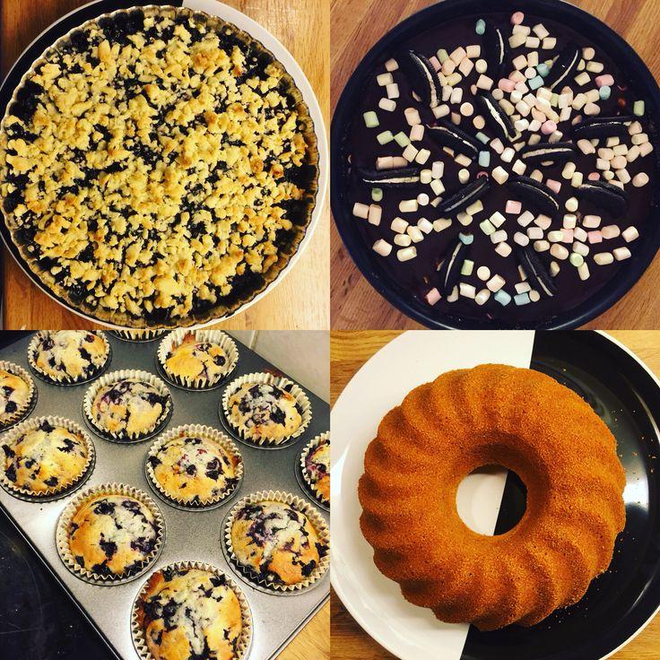 Baka, sockerkaka, muffins, blåbär, paj, oreomudkake, baking