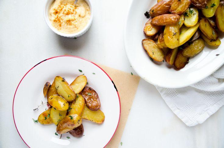 Patatas Crujientes con Crema de Calabaza y Anacardos (cajuil)