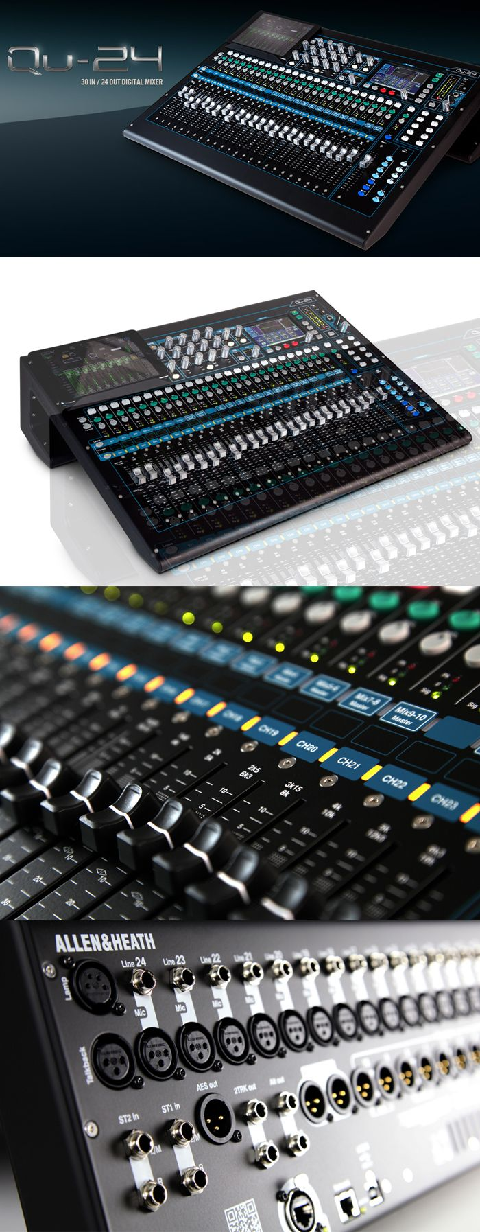 Allen & Heath QU-24C Digital Audio Mixer - Chrome Edition! With its responsive touchscreen, 25 motor faders and acclaimed AnalogiQ recallable preamps, Qu-24 combines exceptional ease of use with class-leading audio performance.