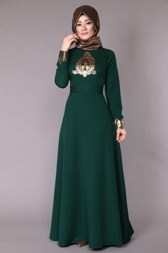 Varak Detay Abiye Elbise MSW8006 Zümrüt - Thumbnail