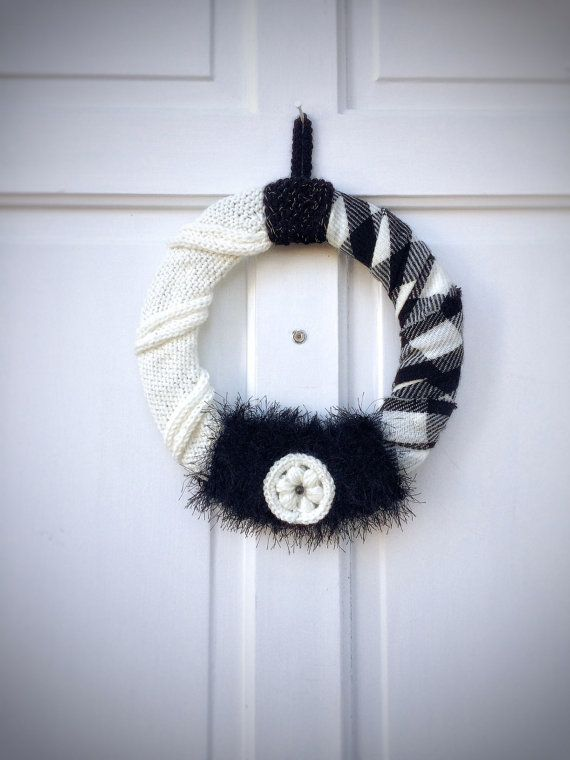 Knit Crochet Winter Wreath Unique Handmade Home by DesignsbyPolina