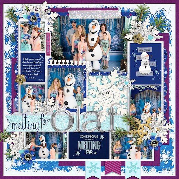 Disney's Frozen Olaf meet and greet digital scrapbooking page featuring Project Mouse: Ice by Britt-ish Designs and Sahlin Studio
