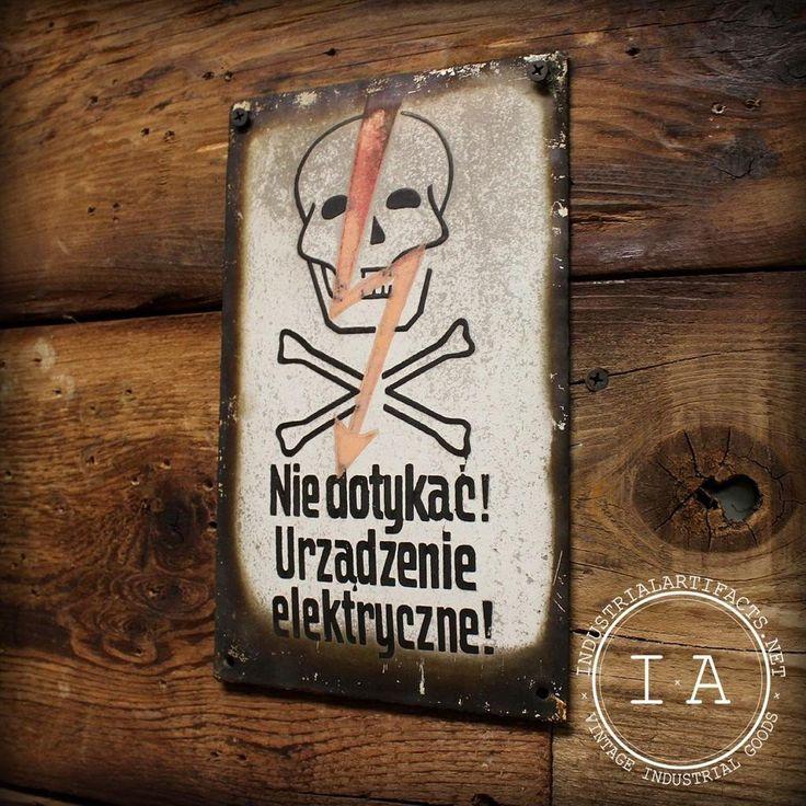 Antique 1940s Polish Porcelain Danger Sign