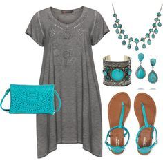 Plus Size - Turquoise & Gray by corinna-smith-lockamy on Polyvore featuring polyvore, fashion, style, Exelle, Aéropostale, Street Level, Elizabeth Cole and ASOS