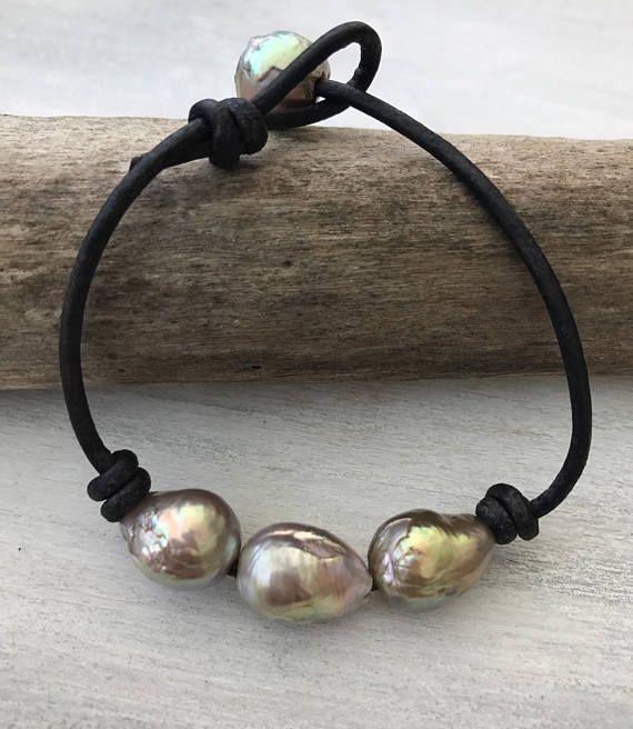 Bracelet en cuir perle, perle de boule de feu, d'eau douce, nacre, perles sur cuir, bracelet en cuir perle, perle, bracelet en cuir, cadeau pour maman