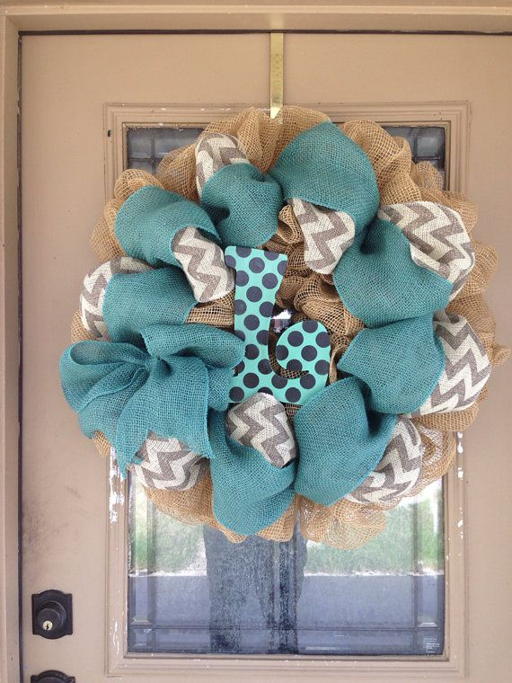 Polka Dot Initial turquoise  and Chevron Burlap Deco Mesh Wreath