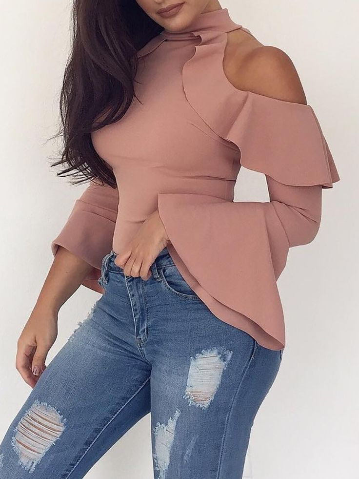 Shop Blouses & Shirts Fashion Ruffled Cold Shoulder Bell Sleeve Top