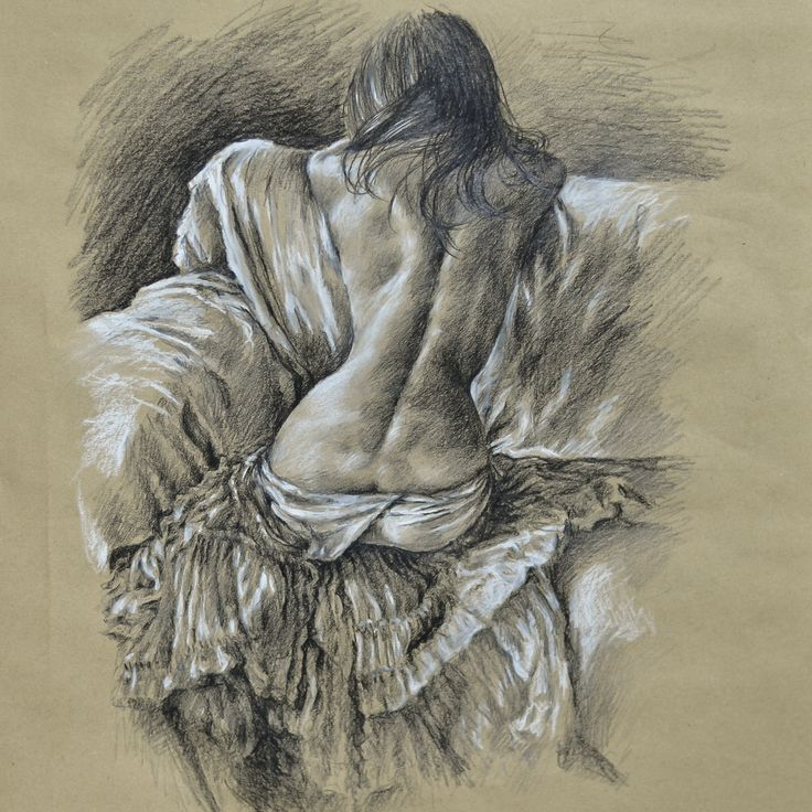 Woman back figure drawing pencil white pastel on brown paper