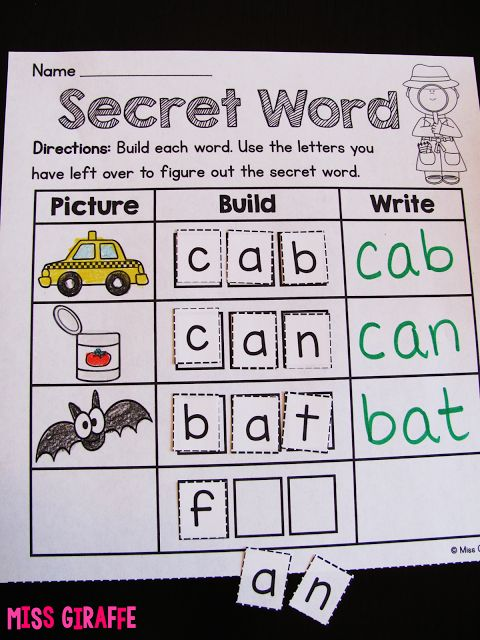 GENIUS! Kids look at the picture, build the word, write the word, THEN use the letters leftover to figure out the secret word!! A ton of other great ideas on this blog - save to read!