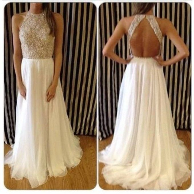 2014 Ivory Prom Dresses Crew Neck Backless Sleeveless Floor Length Chiffon A-line Beading Lace Appliques Party Dresses