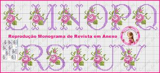 Artes e bordados da Sol: Monograma Floral