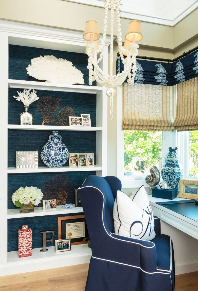 Home Office Bookcase with grasscloth wallpaper and coastal decor. Home office bookcase. I usually prefer small offices over big ones. I…