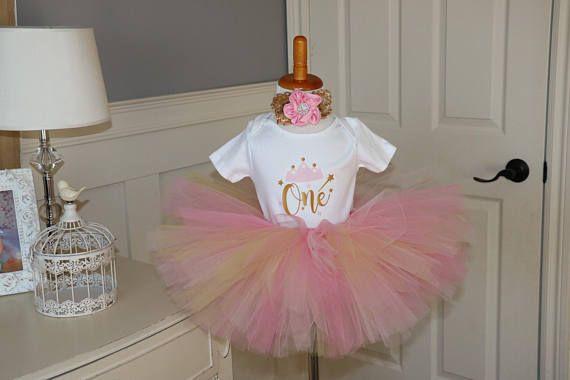 "Pink and Gold Tutu Set - ""One"" Diaper shirt, tutu and matching headband"