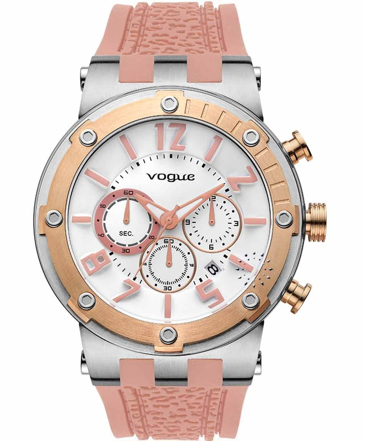 VOGUE Feeling Rose Gold Chrono Pink Rubber Strap  Τιμή: 215€  Αγοράστε το εδώ: http://www.oroloi.gr/product_info.php?products_id=31615