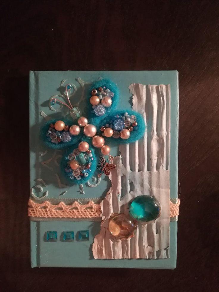 Блокнот, ежедневник, декор обложки, ручная работа, артбук, бабочка, скрап