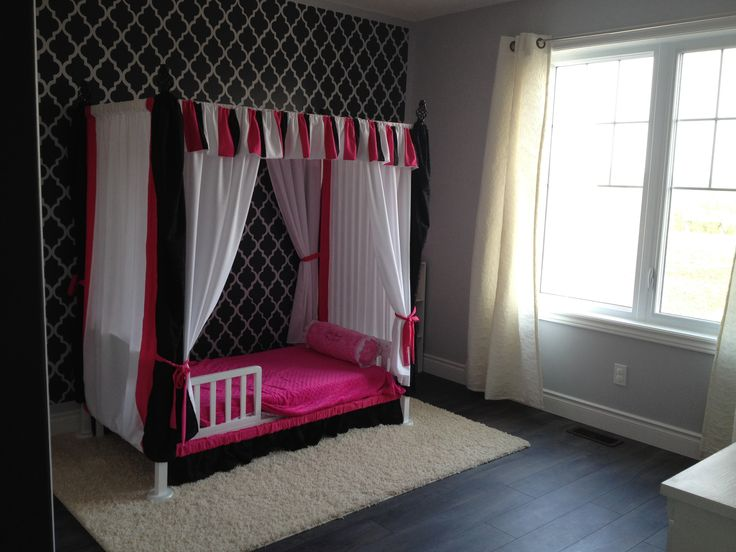 My mom made this cute canopy for my daughter. Made her transition to the toddler bed from her crib exciting for her.