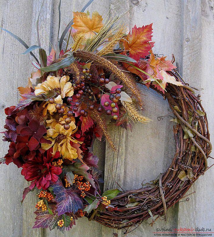 Изготовление осенних венков из листьев.. Фото №3