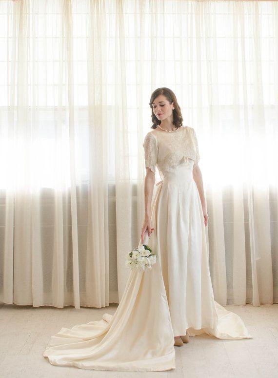 60s Satin Wedding Dress  Vintage 1960s Wedding от concettascloset