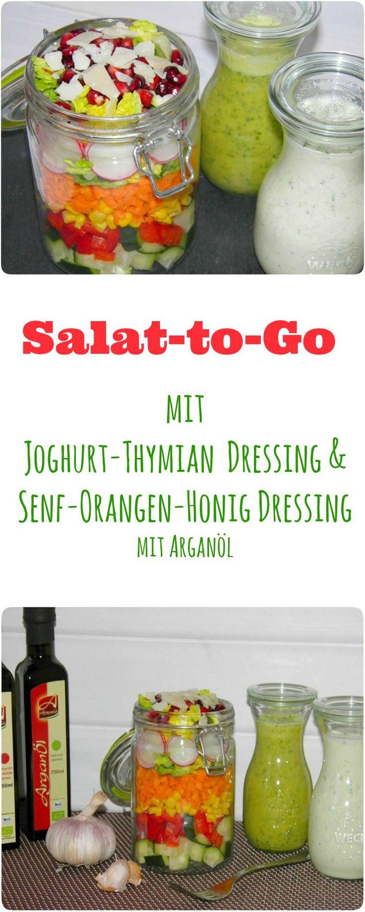 Habt Ihr schon mal Salat to go im Glas gesehen? Nein, dann habt Ihr heute ein ganz tolles Rezept für ein gesundes Mittagessen in der Arbeit, unterwegs oder beim Picknick, welches Ihr schon am Abend vorbereiten könnt und morgens bequem aus dem Kühlschrank swups in die Tasche steckt. Mit zwei leckeren Dressings: Joghurt-Thymian & Senf-Honig-Orange und leckeren Bio Arganöl. Im Thermomix oder im Mixer in 30 Sekunden hergestellt.