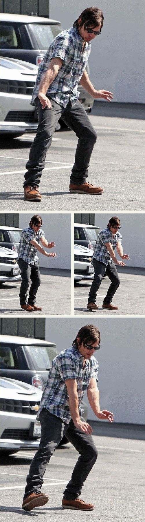 Norman Reedus: a.k.a. Daryl Dixon from The Walking Dead, dancing for the paparazzi. Lol!