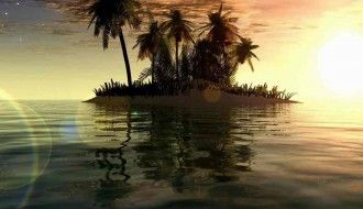 Sunset Digital Blasphemy Wallpaper HD Island 1024x768px Resolution