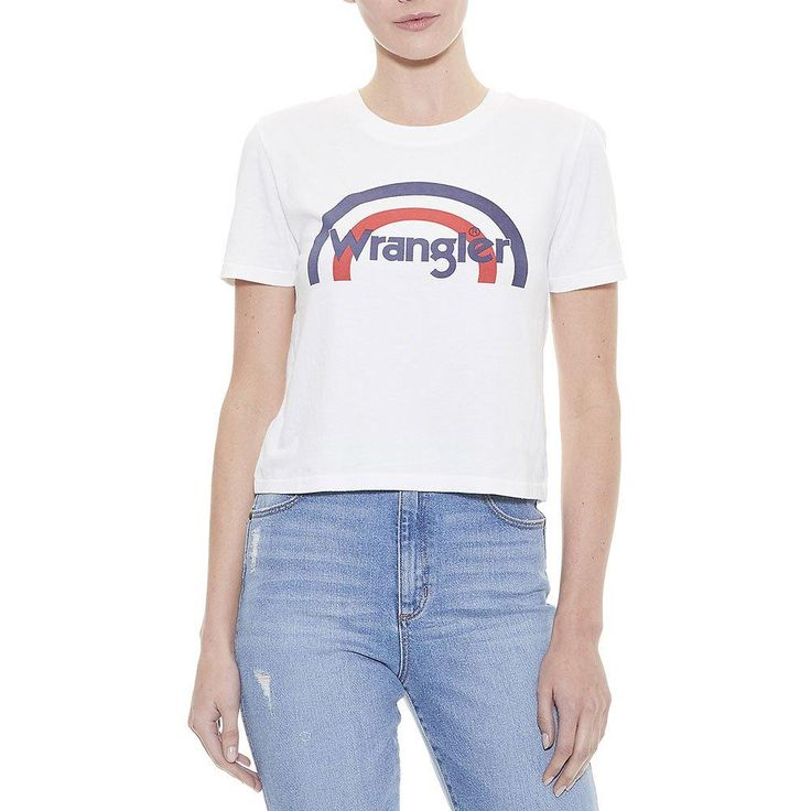 wrangler - Rainbow Crop Tee - White