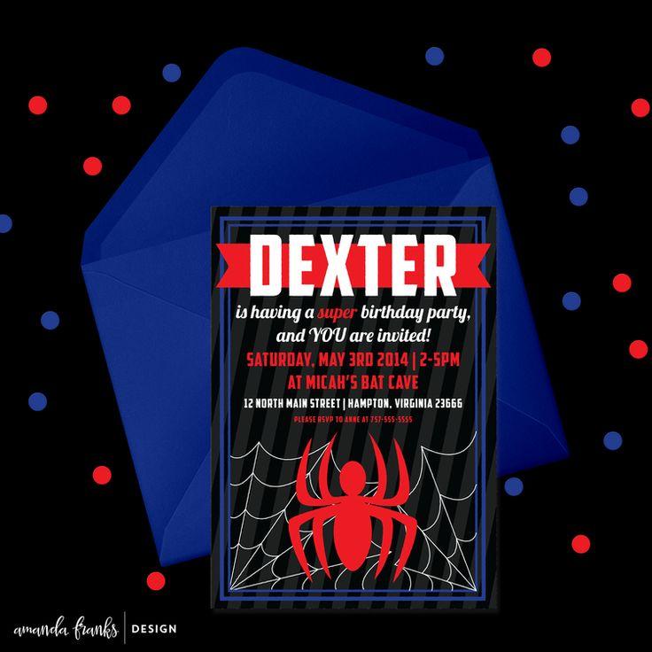 Digital 5x7 Invitation - Customizable - Spiderman