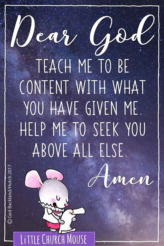 A prayer of contentment