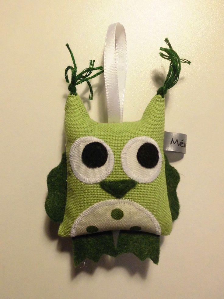 Брелок Зеленый Сова Войлок-белые ткани - создание ручной работы: Ключи от дверей melomelie