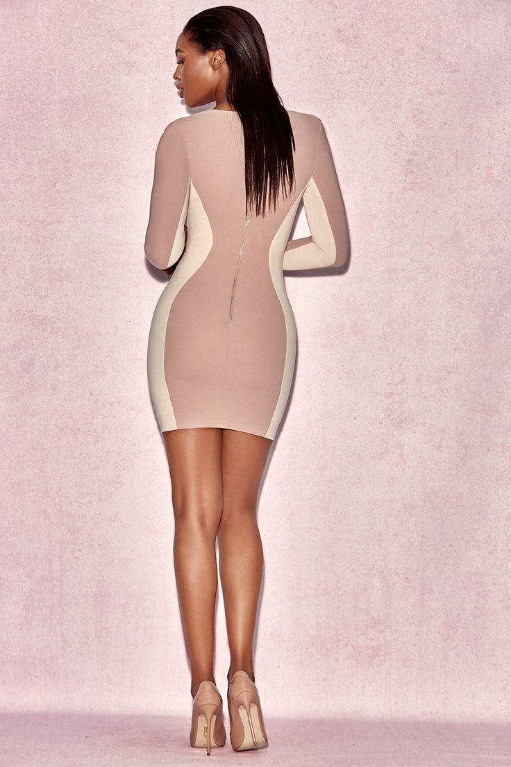 Одежда : Облегающие платья: 'Felicity' Телесное креповое двухтонное облегающее платье