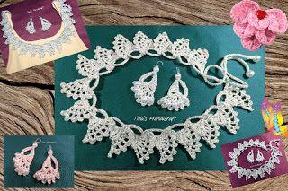 Tina's handicraft : crochet stitch No40 - necklace & earrings