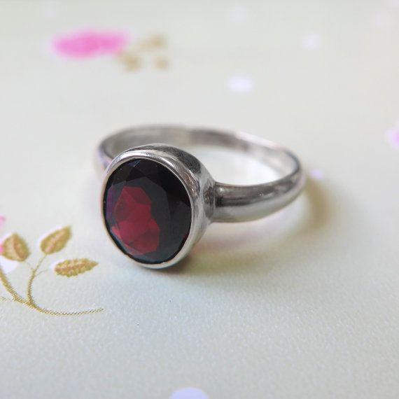 Garnet ring  January Birthstone  Sterling Silver Ring