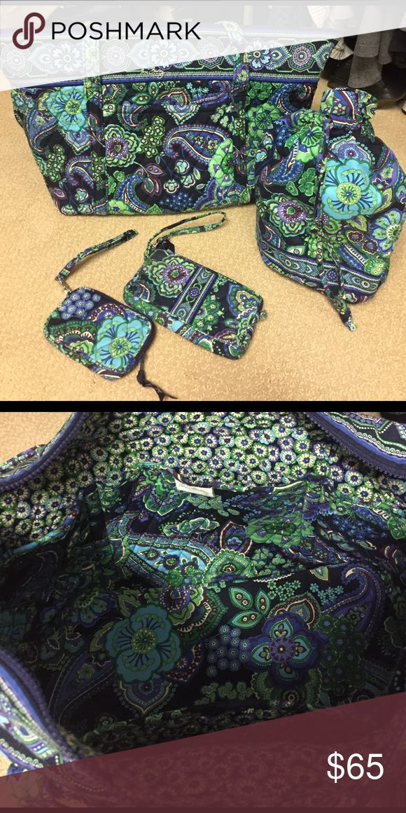 Vera Bradley Tote bag, Diddy bag, wristlets Vera Bradley Blue Rhapsody (retired pattern) set: Miller bag, lined Diddy bag, wristlets and tech case. All in good shape, no stains, no tears, no wear on the handles, and smoke free home. Vera Bradley Bags Totes