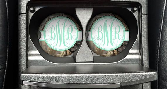 Personalized Monogrammed Car Coasters Mint Green Camo  Cup