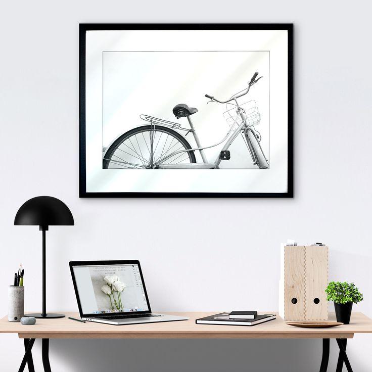 Cute bike print + minimal style work space!