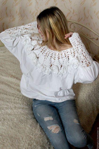 """Блузки ручной работы. Блузка в богемном стиле """" Эмилия"""". Boho love. Интернет-магазин Ярмарка Мастеров. Однотонный"""