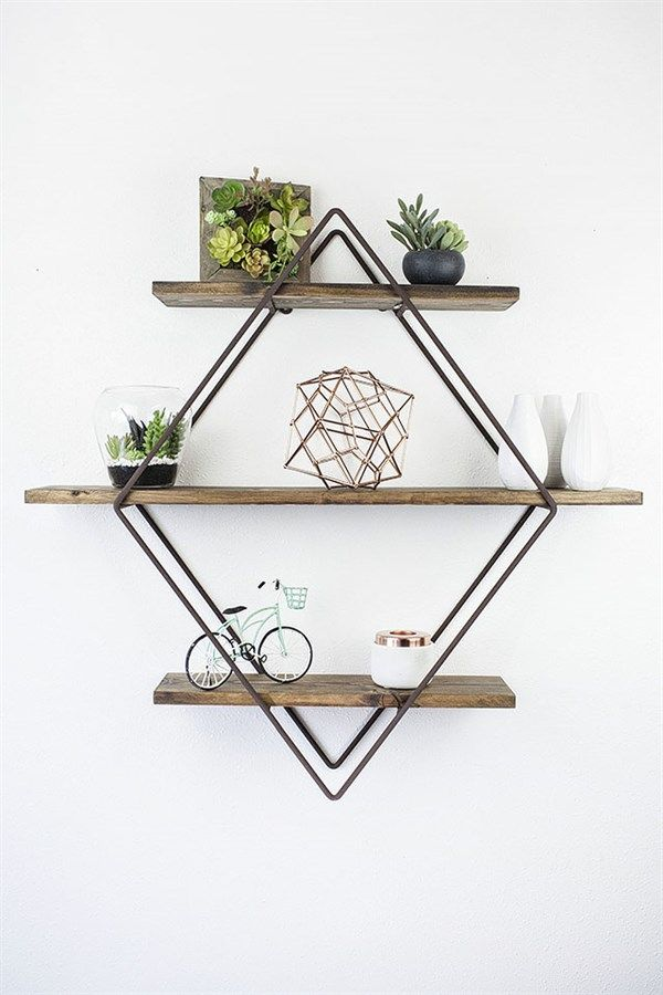DetailsEach of our diamond book shelves are hand made from 5/16 hot rolled steel rod with 3 pine wood shelves. Inspired from our love of geometric design trends, this diamond book shelf fits perfectly in any home. We decided to provided multiple color combination knowing each person has a unique style and color palette in their homes. Our hope is that each diamond book shelf finds the perfect place in your homes and you love this unique design piece as much as we do.Size32.5 H x 6.25 W x 34…