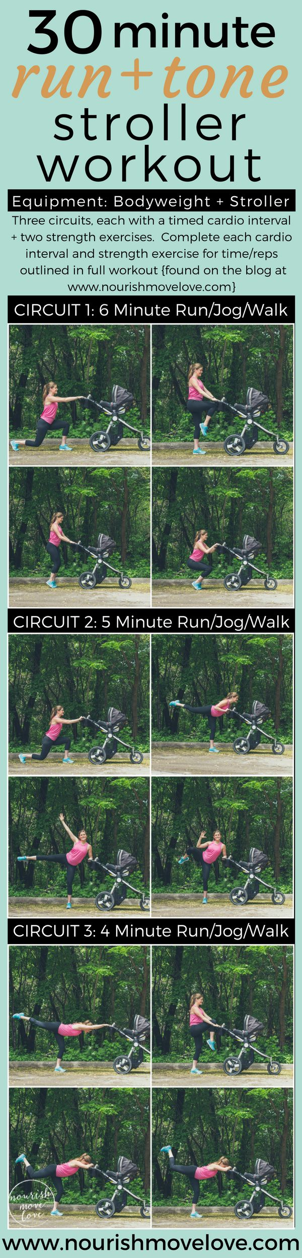 30 Minute Run + Tone Stroller Workout. Workout out new baby can be a challenge, but this mommy + me workout is a cardio + strength workout with the stroller. Run, jog, walk, PLUS strength training exercises like lunges, chair squats, leg lift, oblique crunch, knee drives, glutes | www.nourishmovelove.com