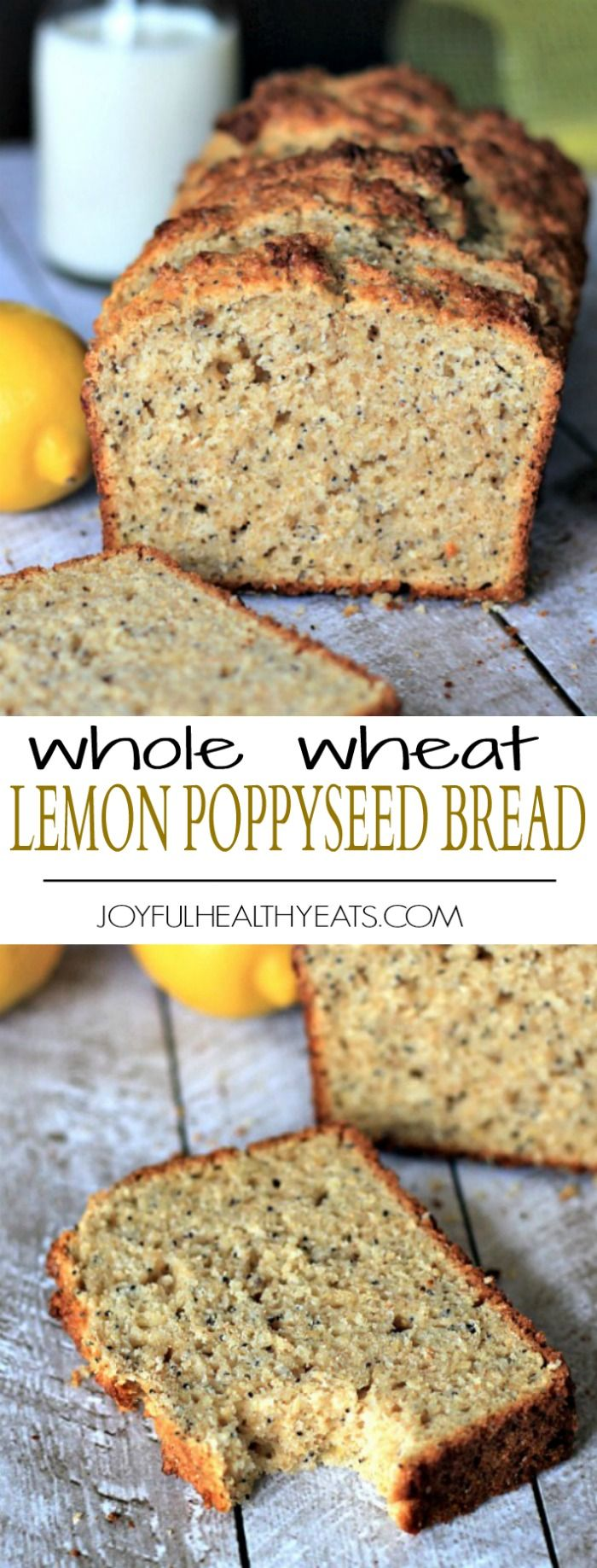 Lemony moist and naturally sweet Whole Wheat Lemon Poppyseed Bread with an extra nutrient boost from chia seeds and greek yogurt. | joyfulhealthyeats.com #recipes