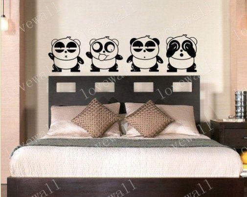 four Naughty panda pandas headboard wall decal bed