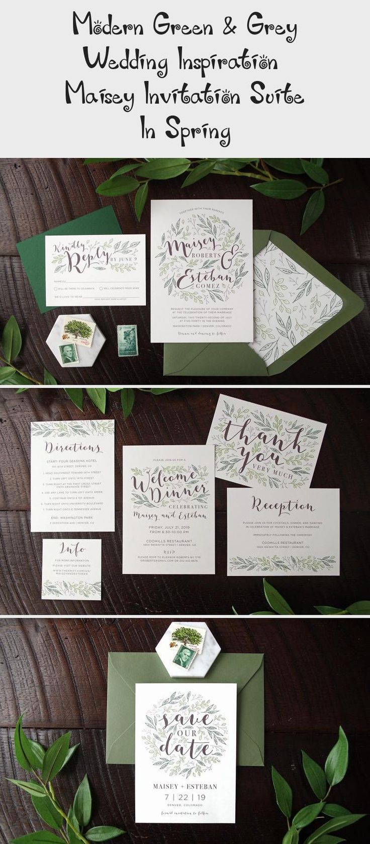 Botanical illustration Green & Grey Wedding inspiration perfect for a modern garden wedding or an urban wedding dripping with greenery. Palette of greens - emerald and sage. Earthy and organic with clean, modern touches. Bridesmaid dresses #SatinBridesmaidDresses #WeddingBridesmaidDresses #BridesmaidDressesSummer #UniqueBridesmaidDresses #TanBridesmaidDresses