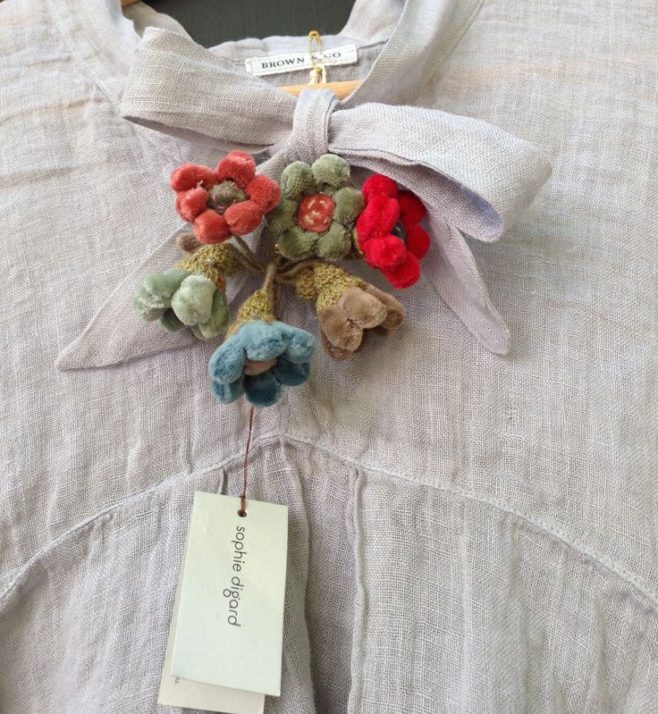 Brown & Co. Omega Linen Smock and Sophie Digard brooch