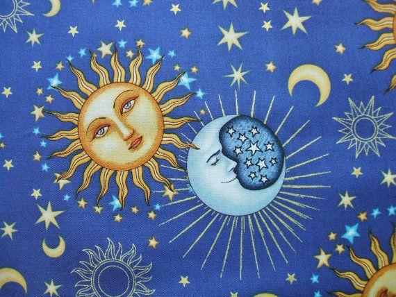 Celestial Sol Sun Moon Stars Blue Dan by AliceInStitchesArts